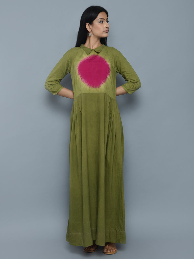 Green Pink Cotton Clamp Dyeing Long Dress