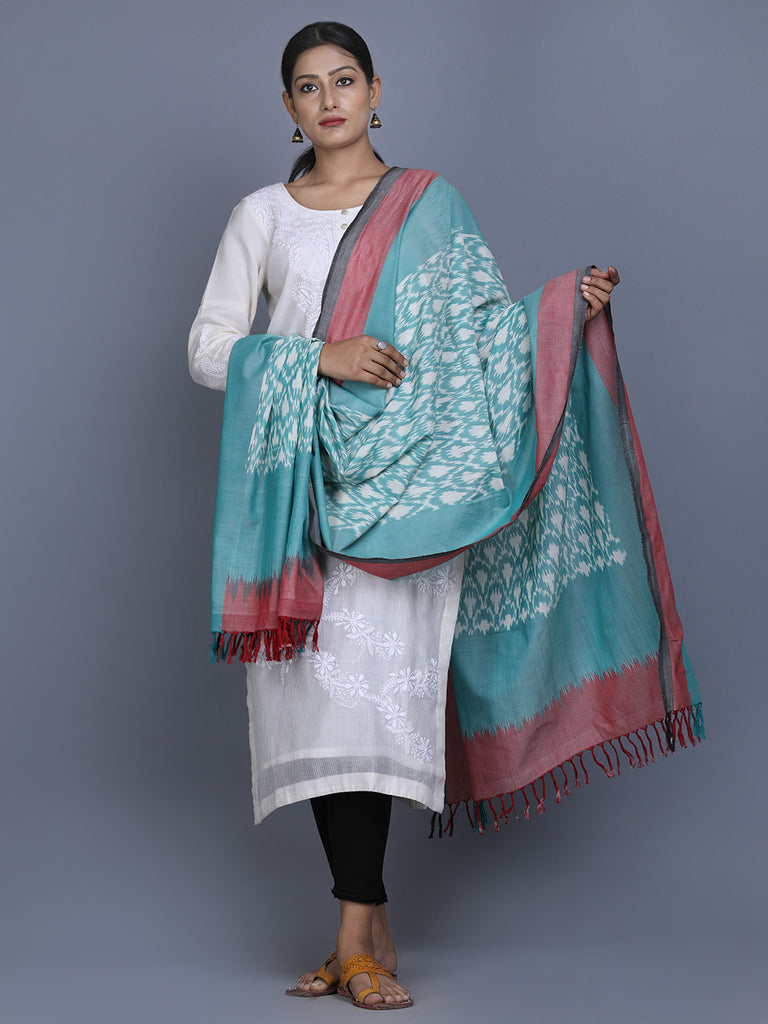 Green Pink Cotton Ikat Dupatta