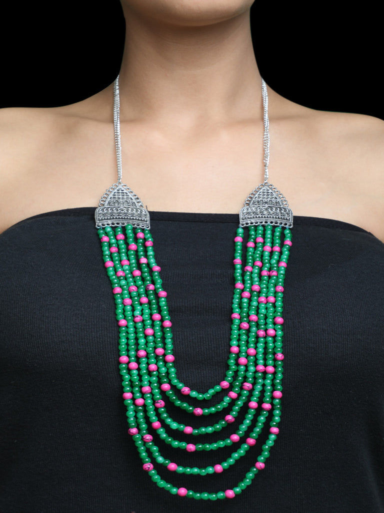 Green Pink Multi Strand Silver Plated Necklace The Loom