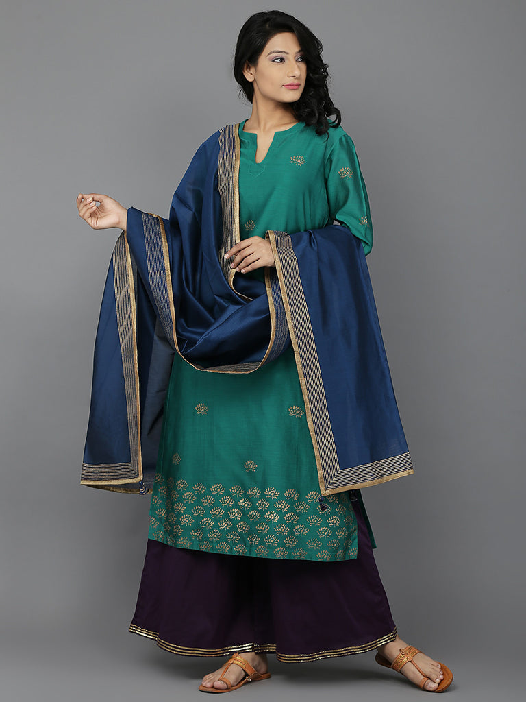 Green Purple Blue Chanderi Cambric Suit - Set of 3