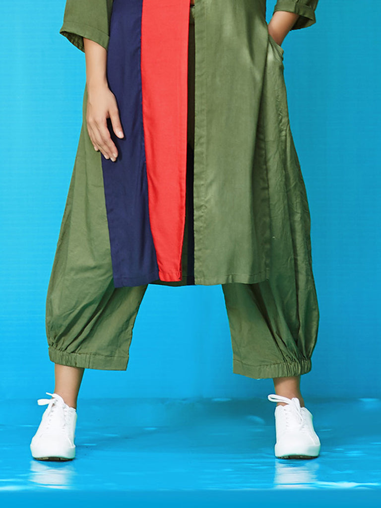 Green Rayon Cotton Pleated Pants