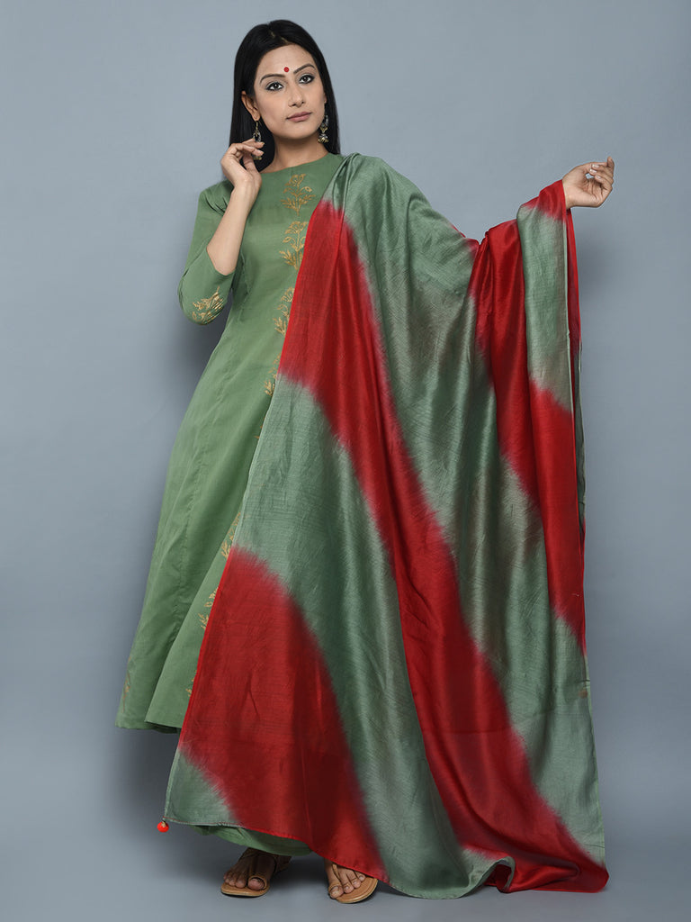Green Red Block Printed Cotton Chanderi Suit - Set of 3