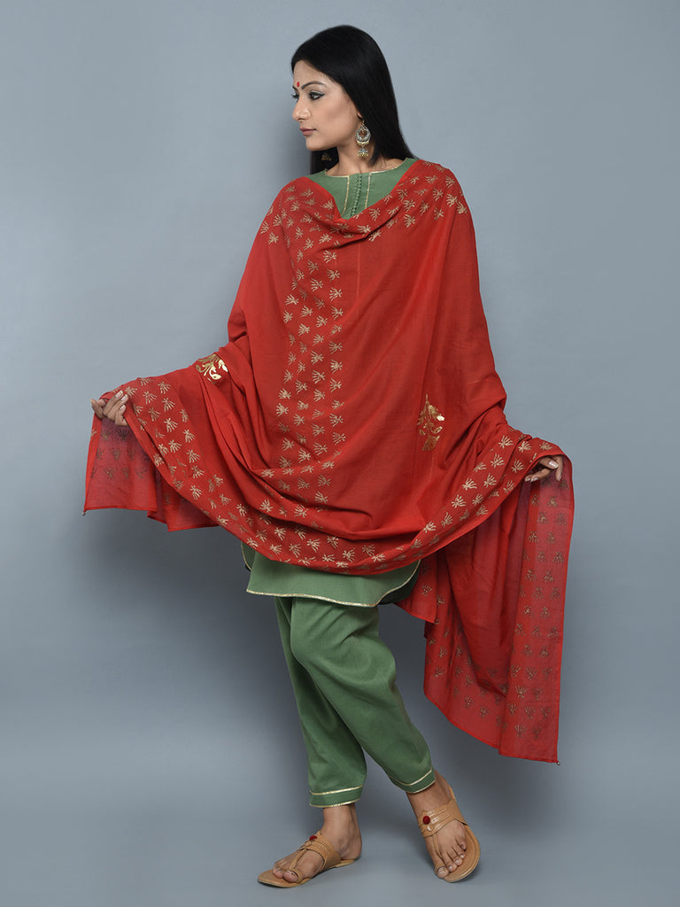 Red Foil Printed Cotton Dupatta