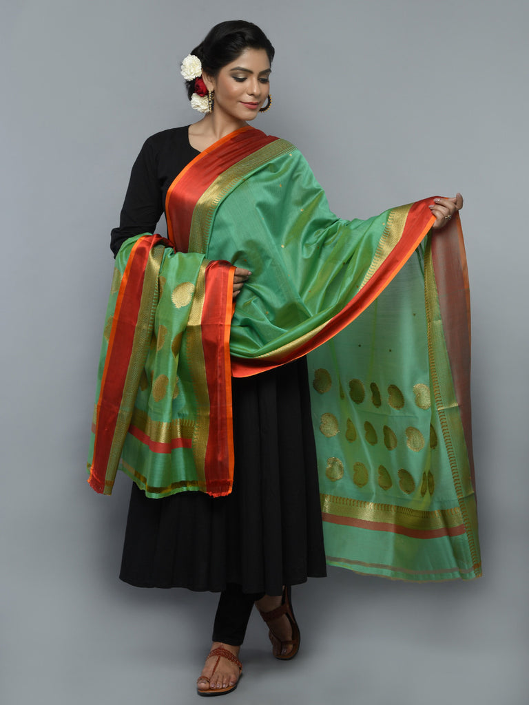 Green Red Kora Cotton Handwoven Banarasi Dupatta