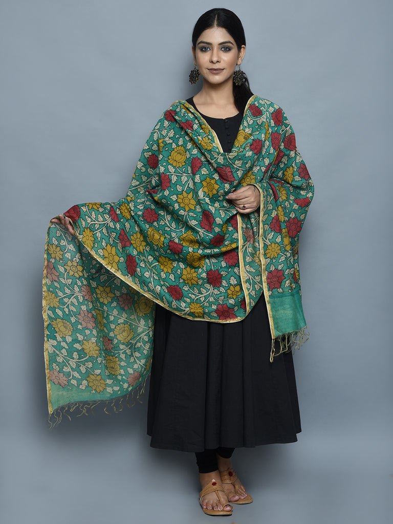 Green Red Mustard Chanderi Hand Painted Kalamkari Dupatta