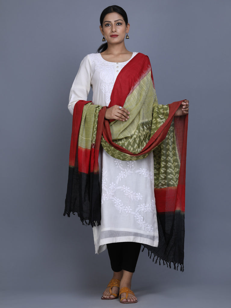Green Black Maroon Cotton Ikat Dupatta