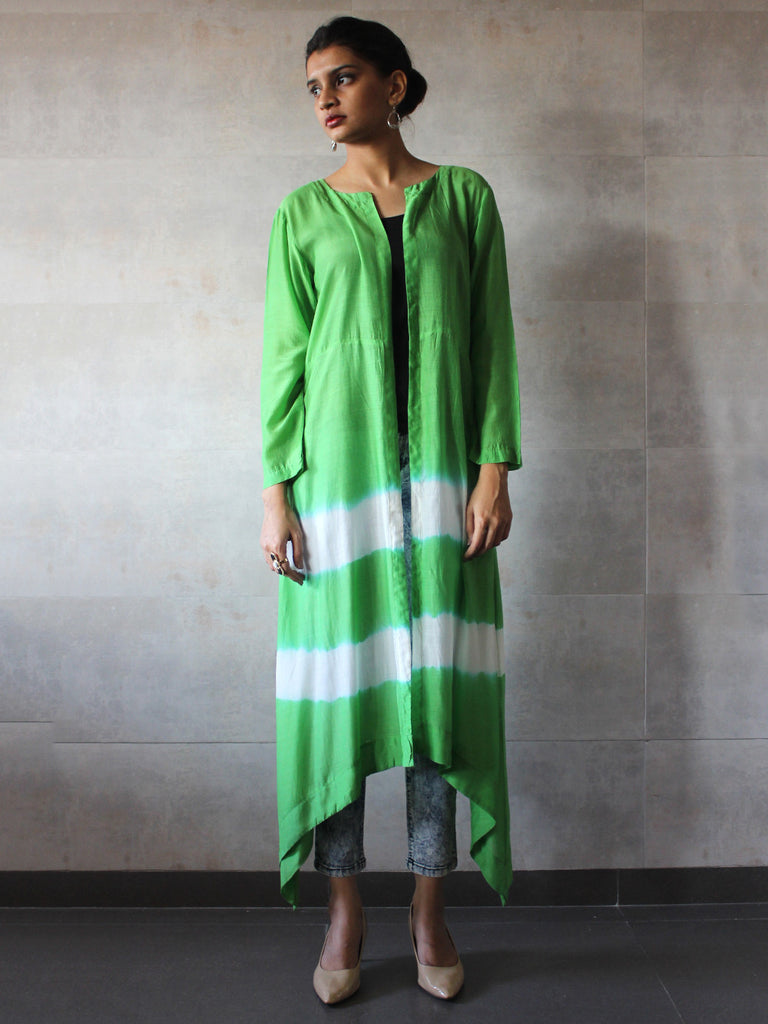Green Cotton Silk Batik Cape