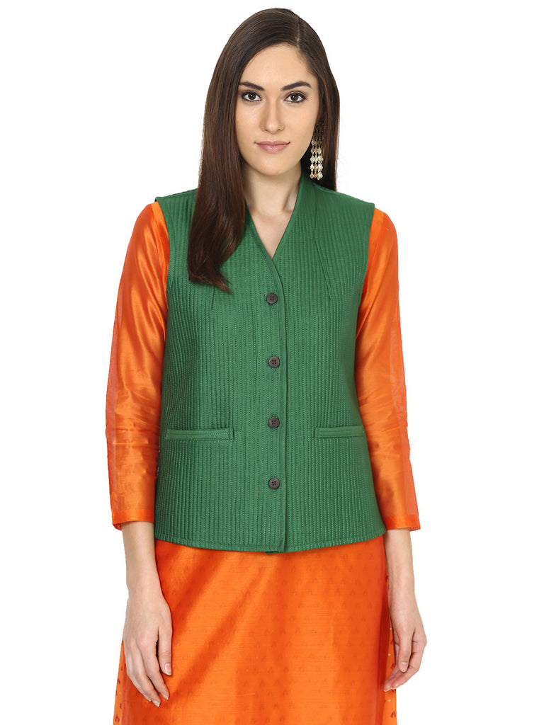 Green Tussar Cotton Quilted Jacket