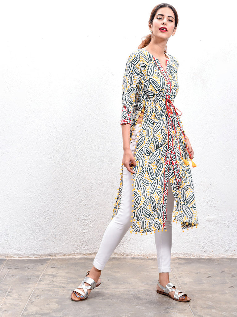 Green Wildflower Hand Block Printed Kaftan Kurta