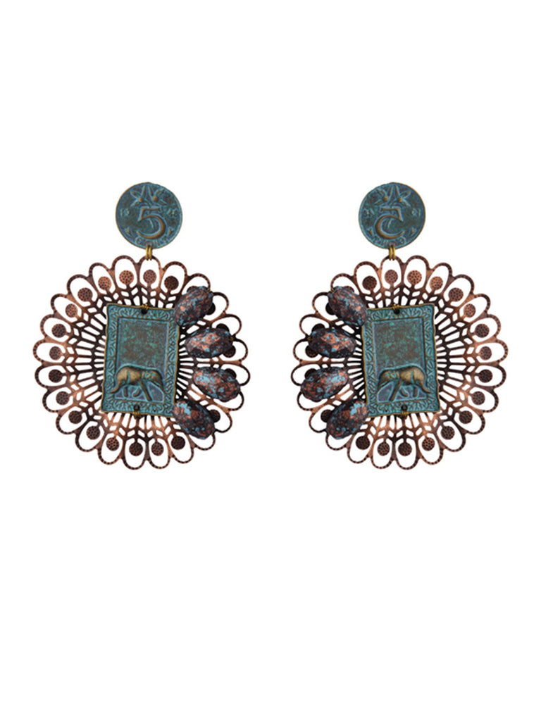 Turquoise Silver Floral Elephant Earrings