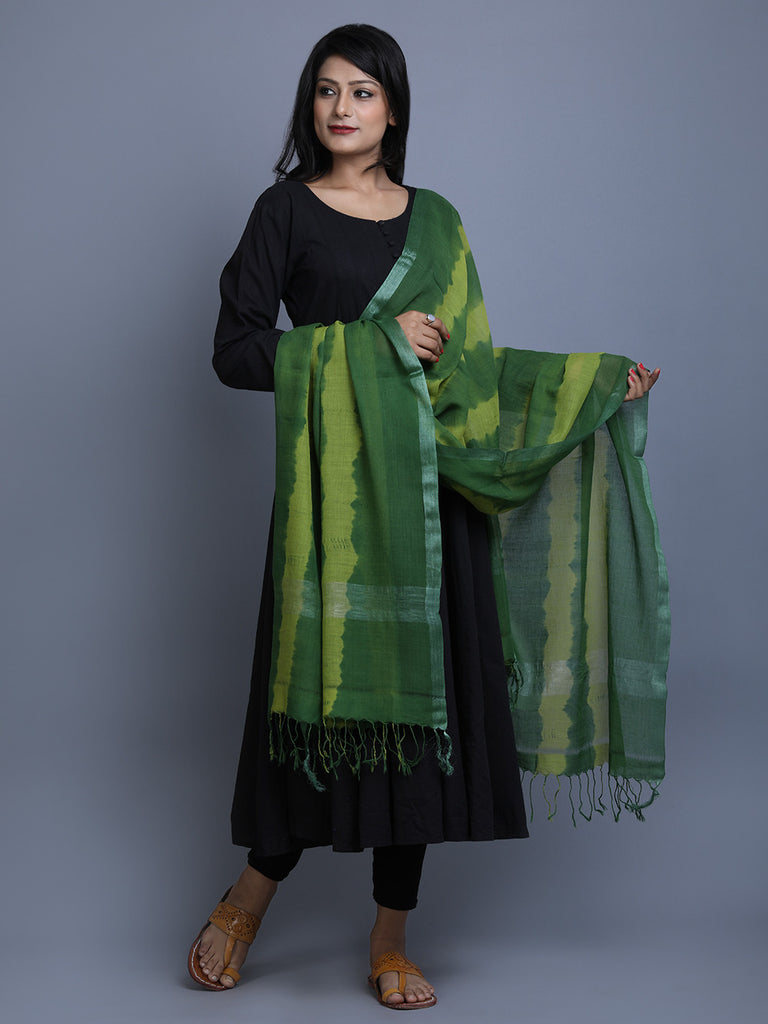 Green Cotton Tie and Dye Handwoven Dupatta