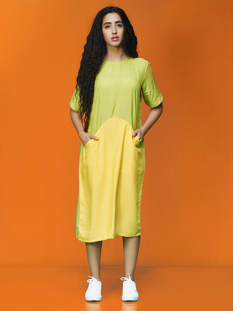 Green Yellow Rayon Cotton Midi