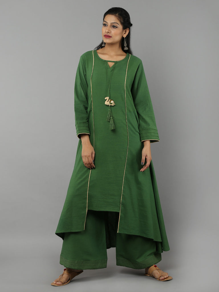 Green 'Camel' Tassel Khadi Kurta with Palazzo - Set of 2