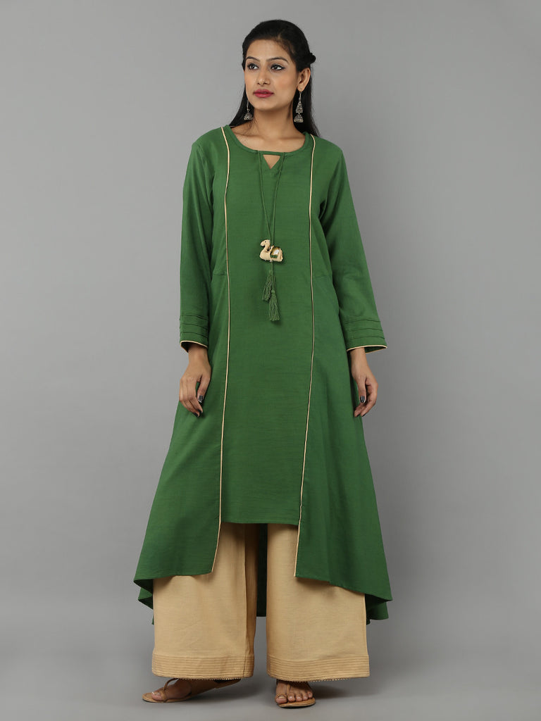 Green 'Camel' Tassel Khadi Kurta and Beige Palazzo - Set of 2