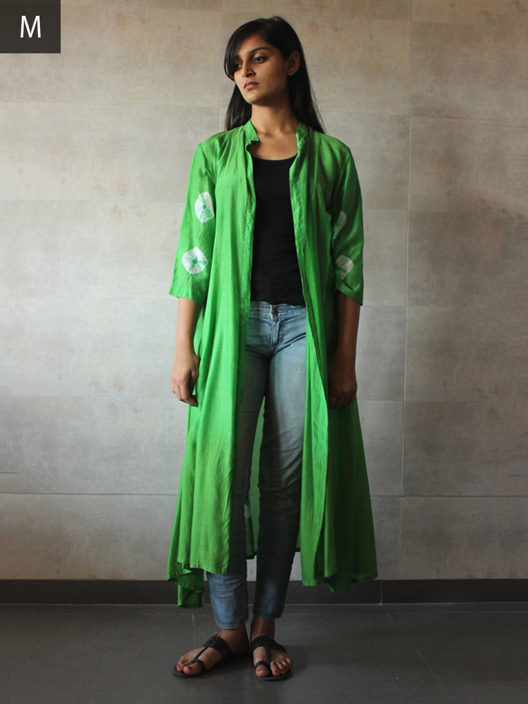 Green Cotton Cotton Silk Bandhej Cape