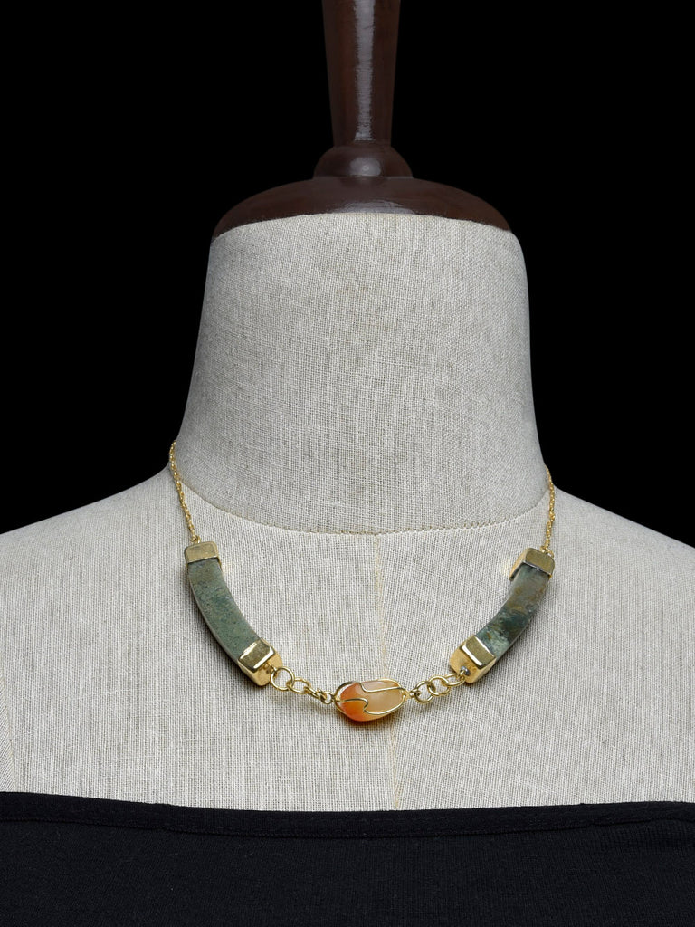 Green Orange Handcrafted Agate Stones Necklace