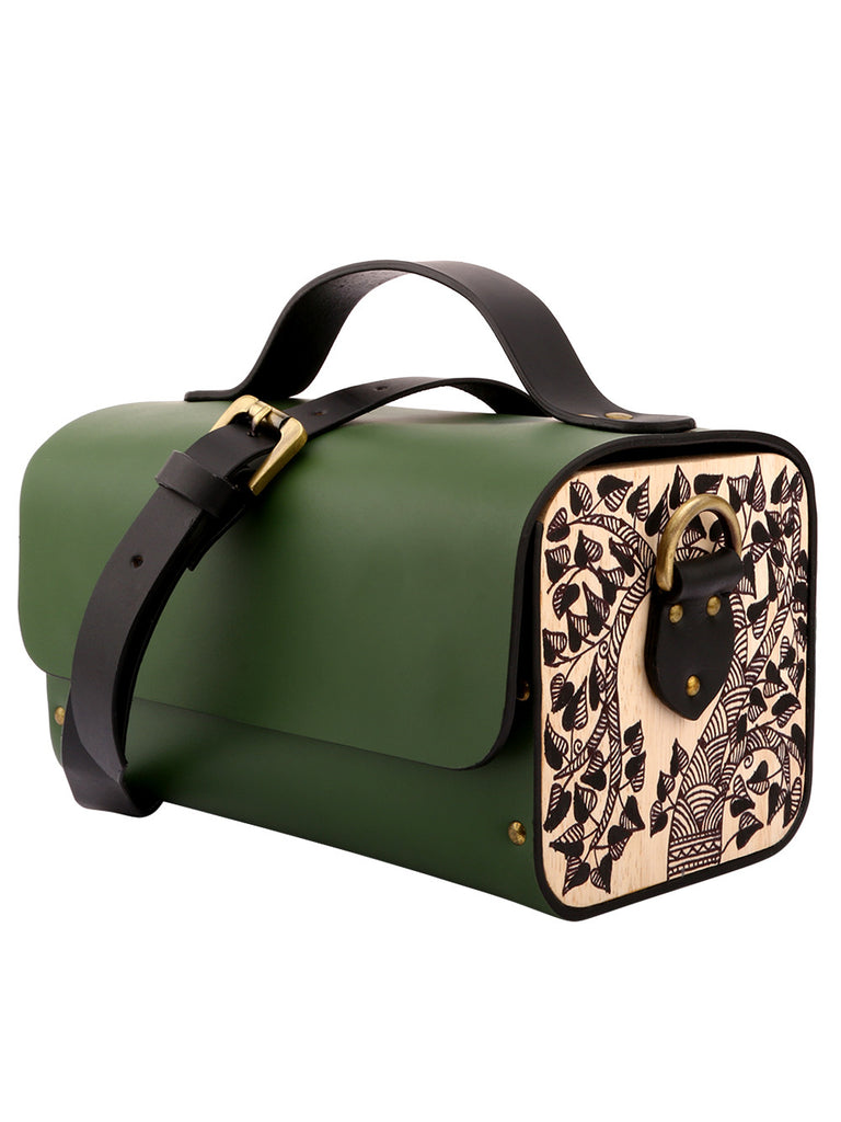Green Leather Tool Box Bag