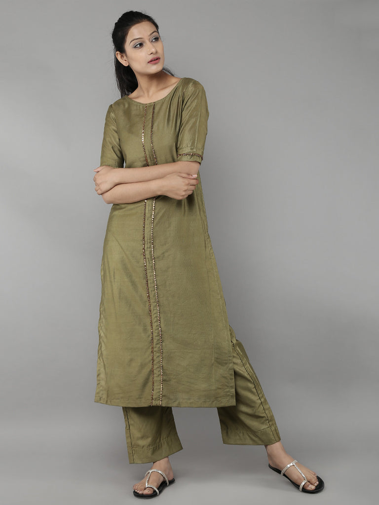 Green Cotton Silk Front Pleat Kurta with Pants - Set of 2