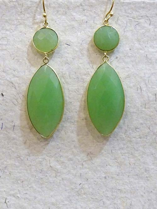 Green Double Stone Dangler Earring
