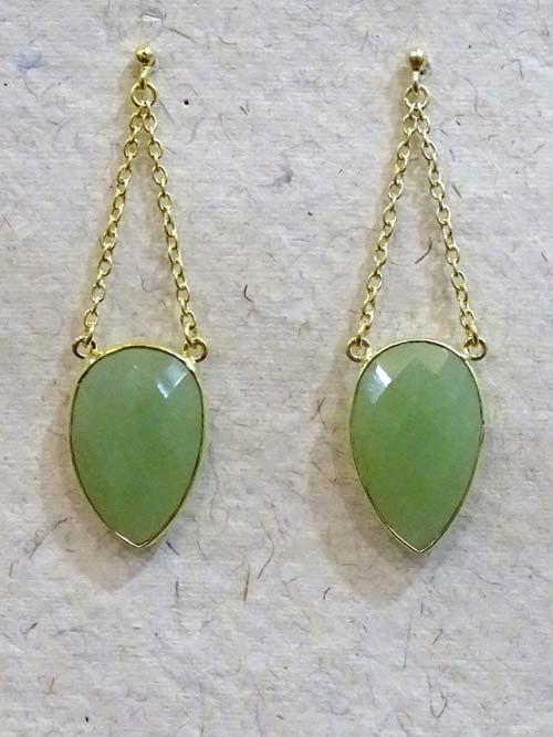 Green Drop Double Chain Stone Earring
