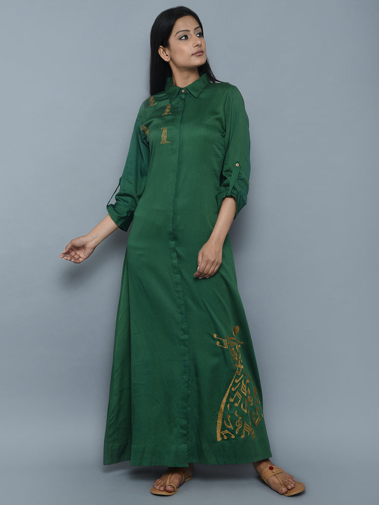 Green Hand Embroidered Cotton Silk Long Dress