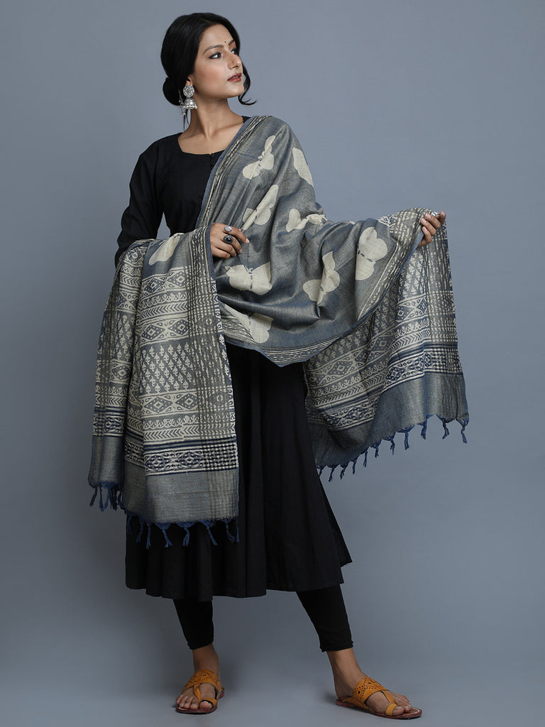 Grey Beige Block Printed Silk Dupatta