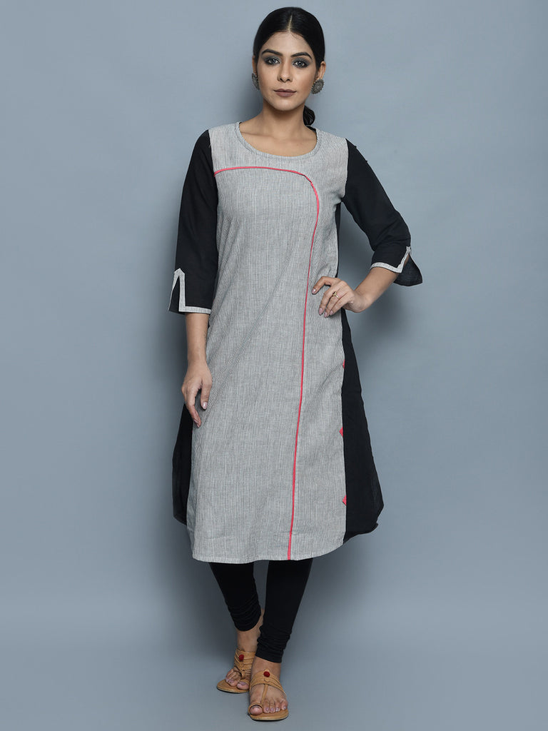 Grey Black A-Line Cotton Kurta