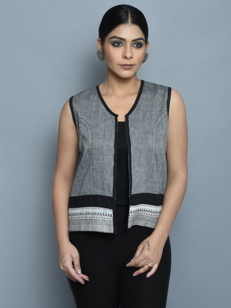 Grey Black Cotton Short Jacket