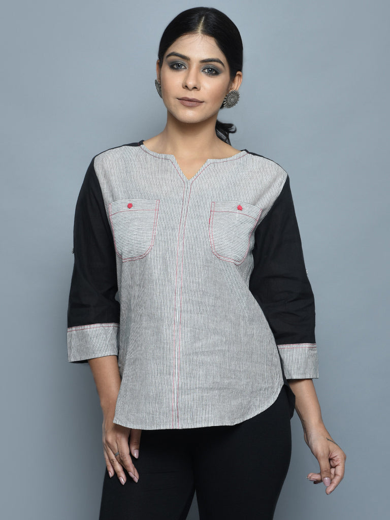 Grey Black Cotton Top