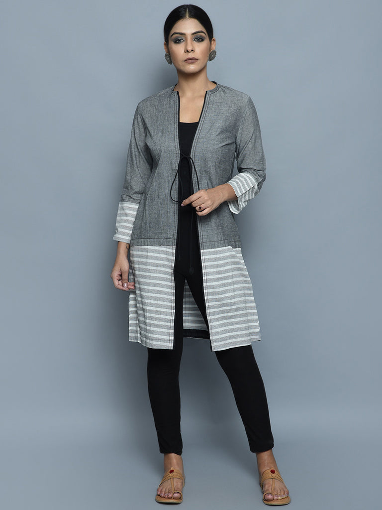 Grey Black Cotton long Jacket