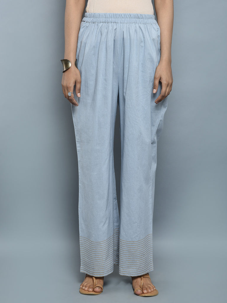 Light Blue Cotton Block Printed Pants