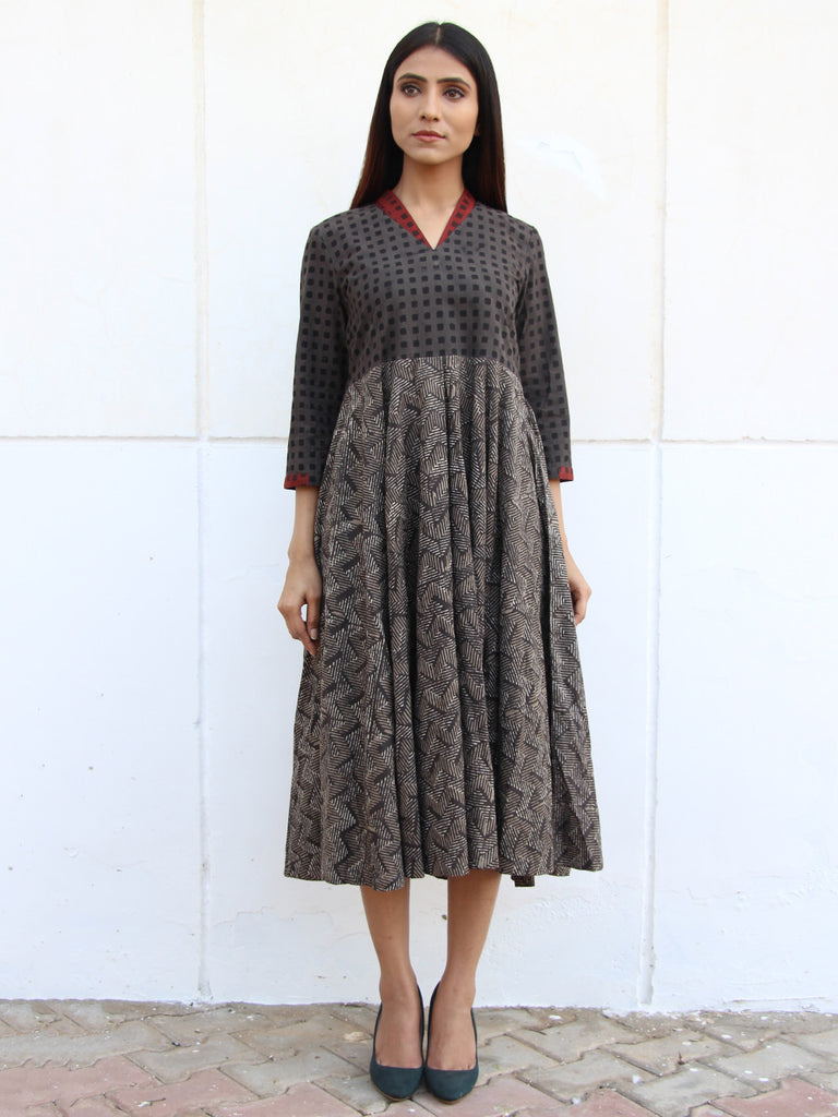Grey Block Printed Cotton Flared Dress