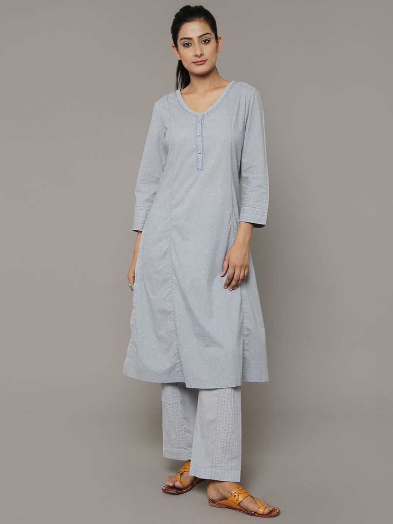 Grey Block Printed Cotton Kurta