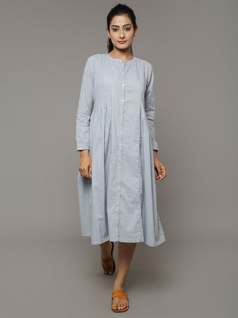 Grey Block Printed Cotton Dress