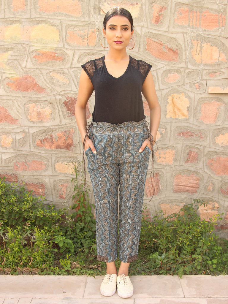 Grey Block Printed Cotton Trousers
