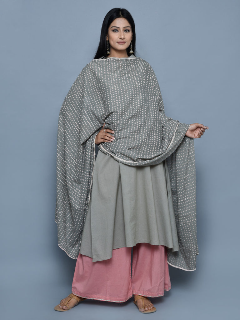 Grey Block Printed Cotton Dupatta