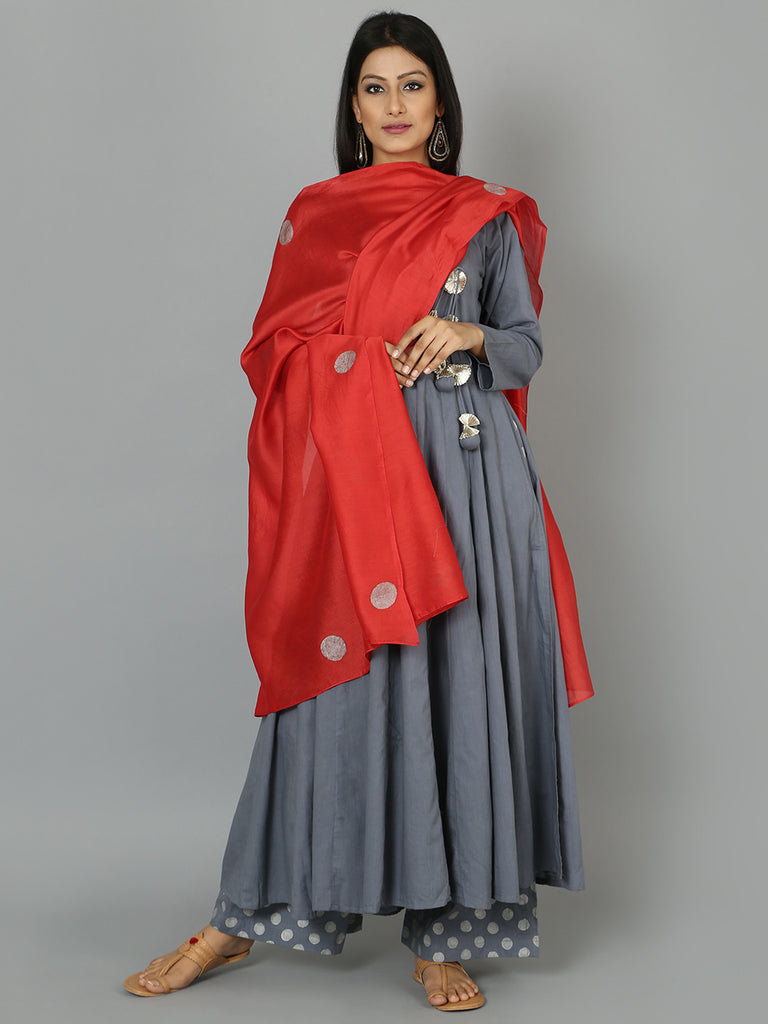 Grey Red Angrakha Cotton Anarkali Suit  - Set of 3