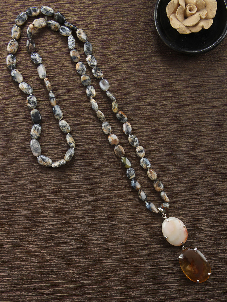 Grey Brown Quartz String with Agate Pendant Necklace