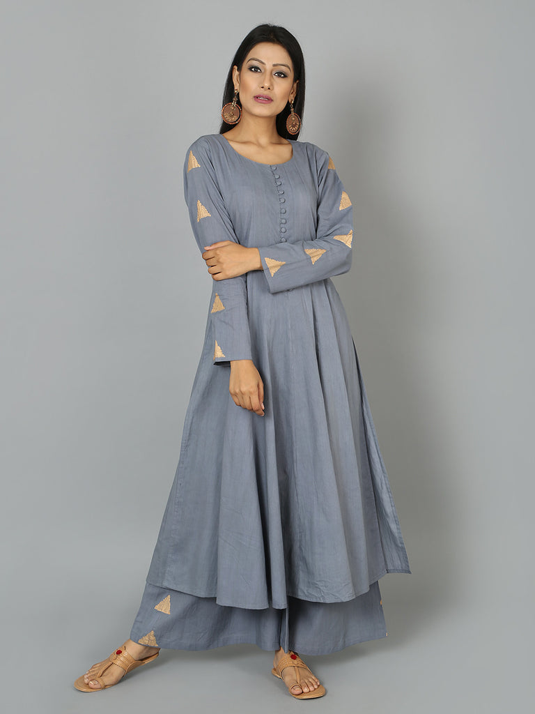 Grey Cotton Triangle Anarkali Kurta