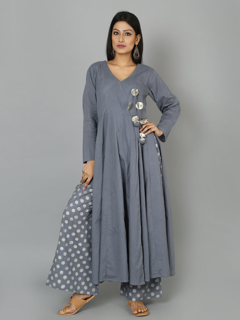 Grey Cotton Angrakha Anarkali Kurta