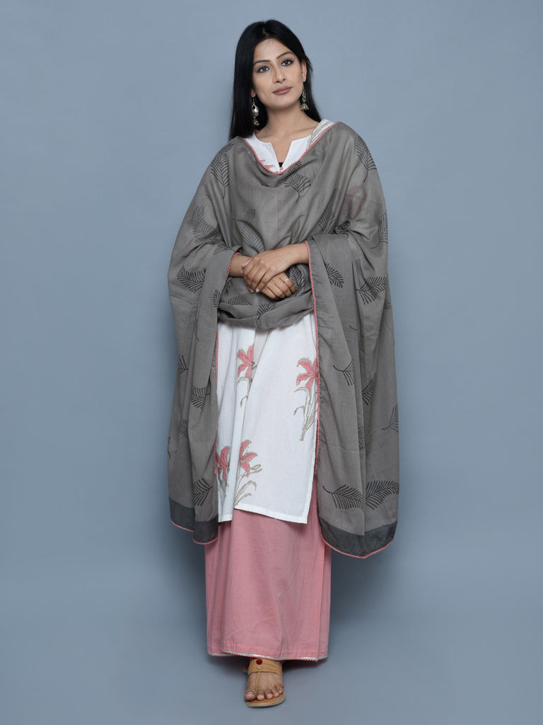 Grey Cotton Block Printed Dupatta with Pink Lace