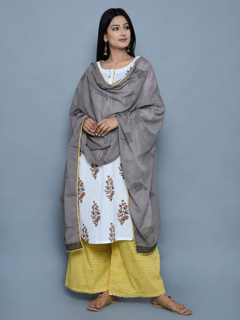 Grey Cotton Block Printed Dupatta with Yellow Lace