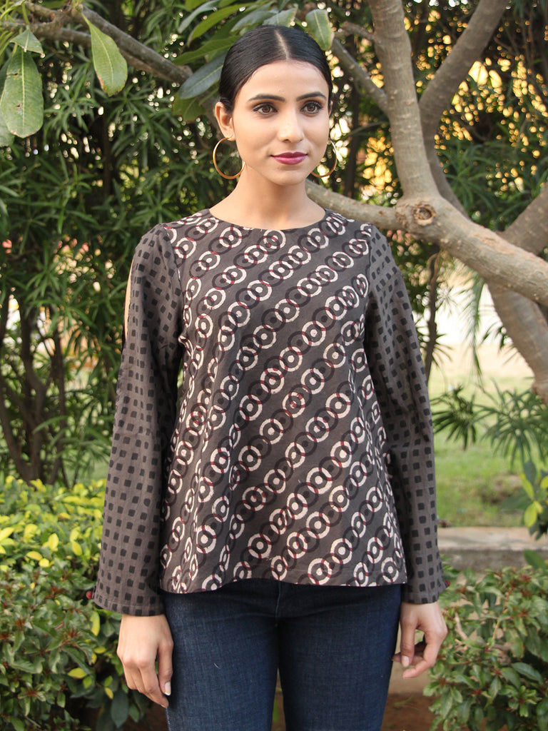 Grey Cotton Block Printed Flared Top