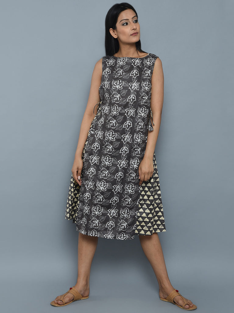 Grey Cotton Dual Printed Dress