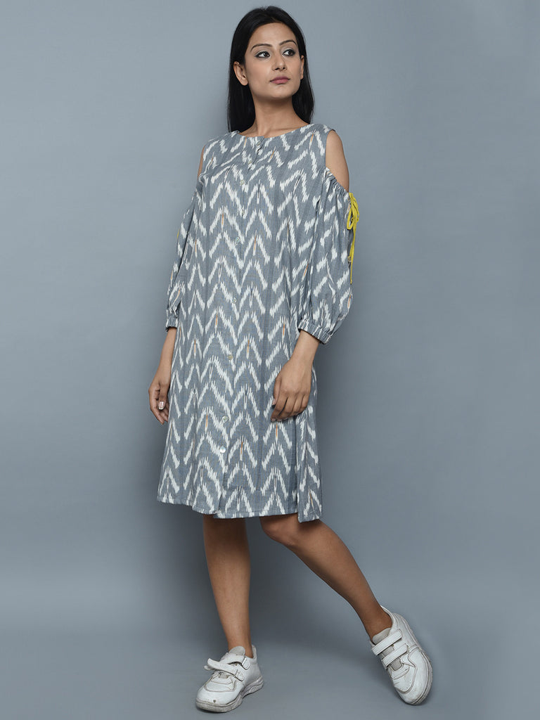Grey White Cotton Ikat Drop Shoulder Dress