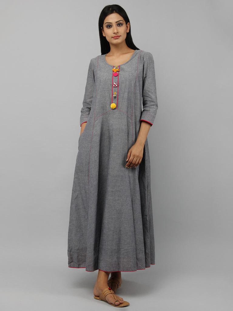 Grey Cotton Maxi Dress