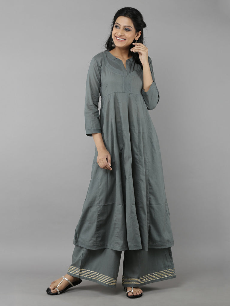 Grey Mulmul Kurta with Ijar Pants - Set of 2