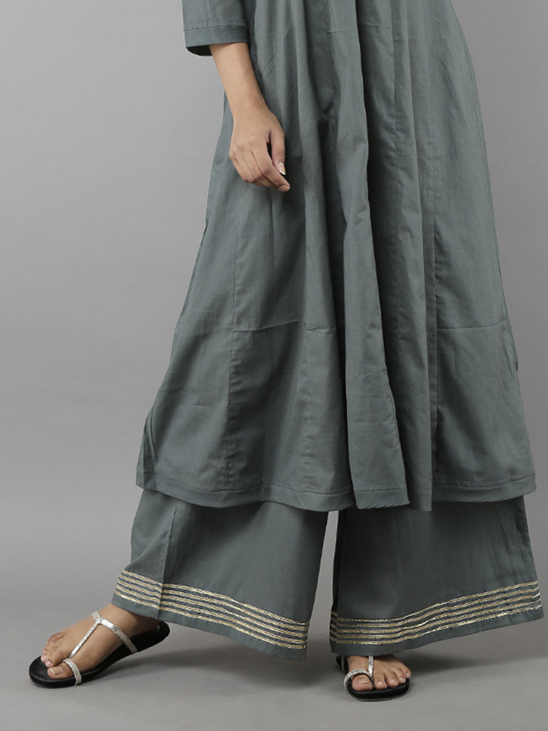 Grey Cotton Mulmul Ijar Pants
