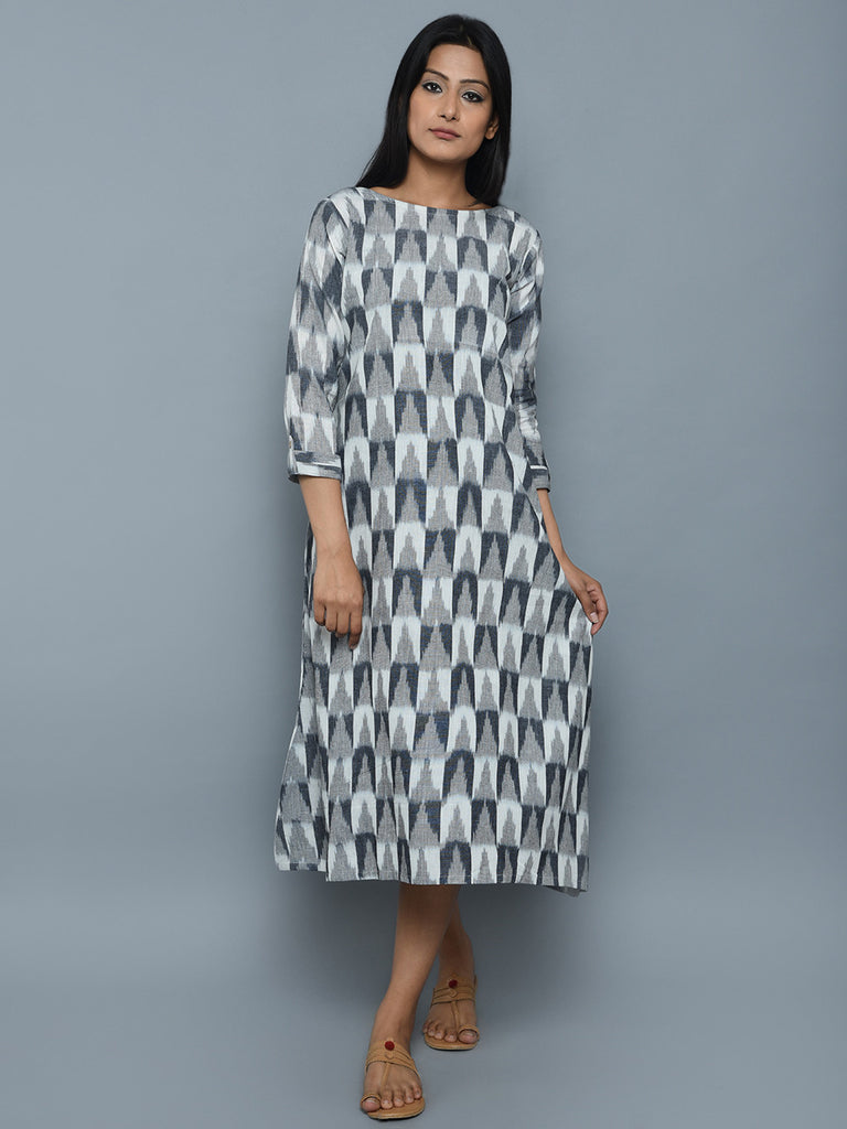 Grey Cotton Oversize Ikat Dress