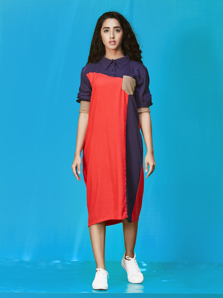Red Navy Grey Rayon Cotton Dress